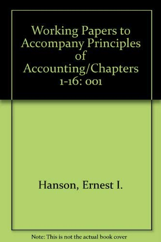 9780030974557: Working Papers to Accompany Principles of Accounting/Chapters 1-16
