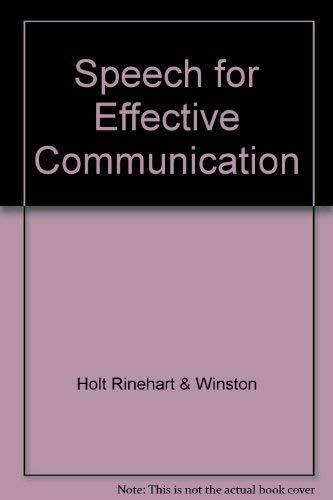 9780030975264: Speech for Effective Communication, Annotated Teacher's Edition