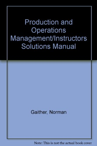 9780030977930: Production and Operations Management/Instructors Solutions Manual