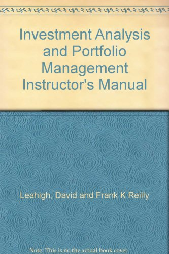 9780030980824: Investment Analysis and Portfolio Management Instructor's Manual