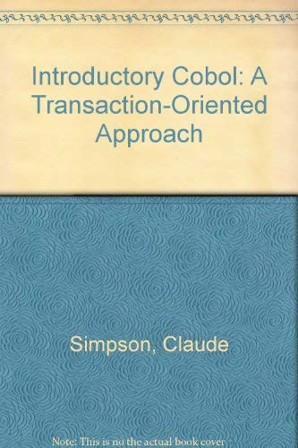 9780030985591: Introductory Cobol: A Transaction-Oriented Approach