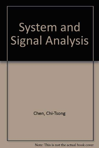 9780030989650: System and Signal Analysis: International Student Edition