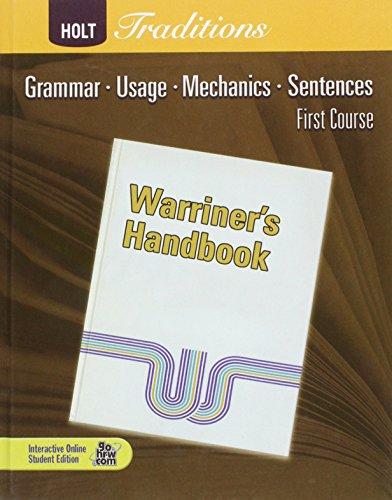 9780030990007: Warriner's Handbook, First Course