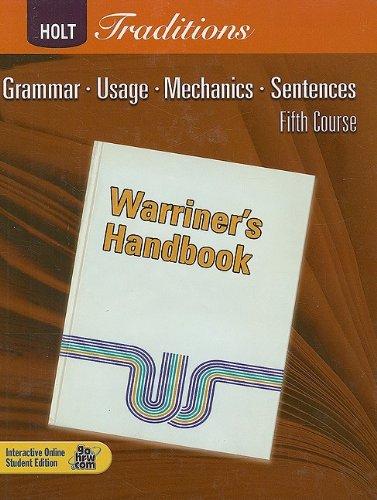 9780030990045: Warriner's Handbook, Fifth Course