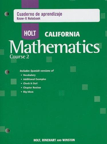 9780030991103: Holt Mathematics California: Cuaderno de Aprendizaje (Spanish Know-It Notebook) Course 7