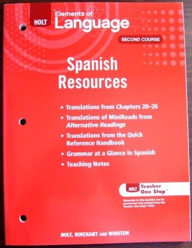 9780030991301: HOLT Elements of Language, Spanish Resources, Second Course