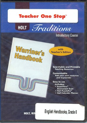 9780030991394: Holt Traditions Warriner's Handbook: Teacher's One-Stop Planner CD-ROM Introductory Course