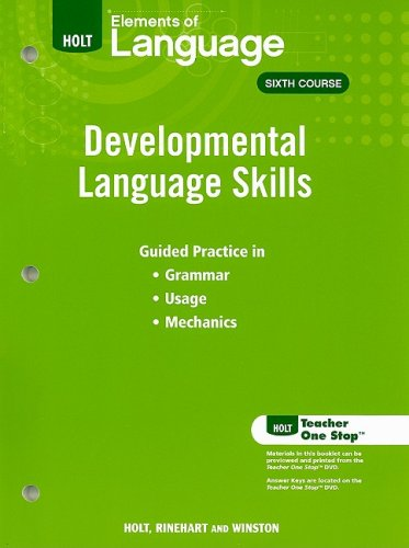 9780030992339: Elements of Language: Developmental Language Skills