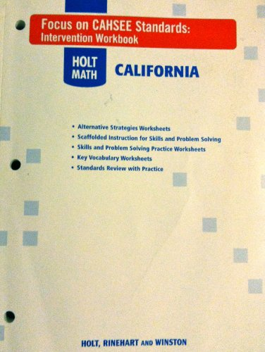 9780030992452: Holt Mathematics California: Focus on Cahsee Standards Intervention Workbook