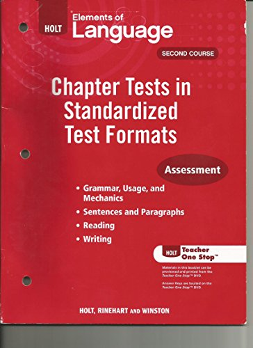 9780030993138: Holt Elements of Language Second Course, Chapter Tests in Standardized Test Formats Assessment, Grade 8