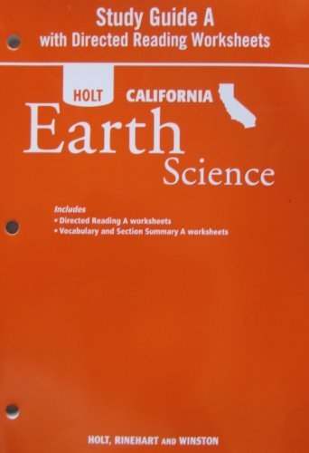9780030993930: Study Guide A with Directed Readings Worksheet for Holt California Earth Science