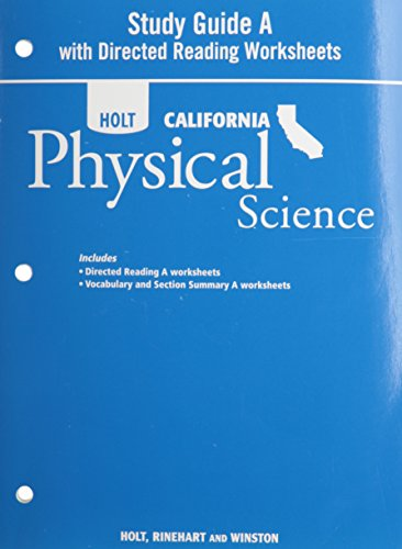 9780030993954: Holt Science & Technology California: Study Guide A With Directed Reading Worksheets Grade 8 Physical Science
