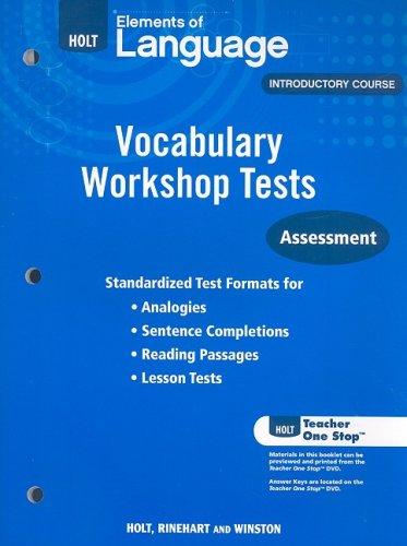 9780030994852: Holt Traditions Vocabulary Workshop: Vocabulary Workshop Tests