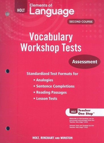 9780030994876: Holt Elements of Language, Second Course: Vocabulary Workshop Tests: Assessment