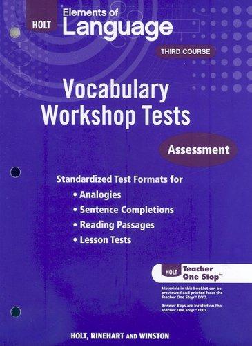 9780030994883: Holt Traditions Vocabulary Workshop: Vocabulary Workshop Tests