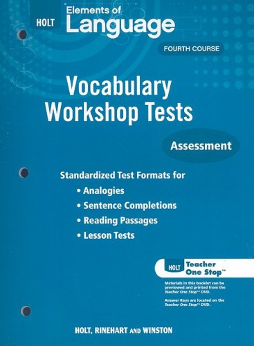 9780030994890: Holt Elements of Language Fourth Course: Vocabulary Workshop Tests: Assessment