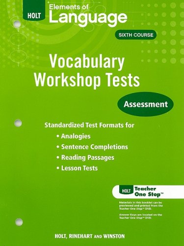9780030994913: Elements of Language Vocabulary Workshop Tests, Sixth Course