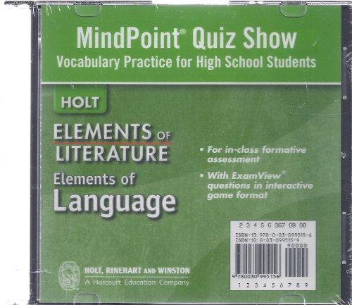 9780030995156: Elements of Literature: Quiz Show Vocabulary Practice Grades 9-12 High School