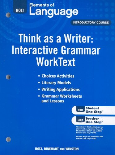 9780030995590: Elements of Language: Think As A Writer Interactive Writing Worktext