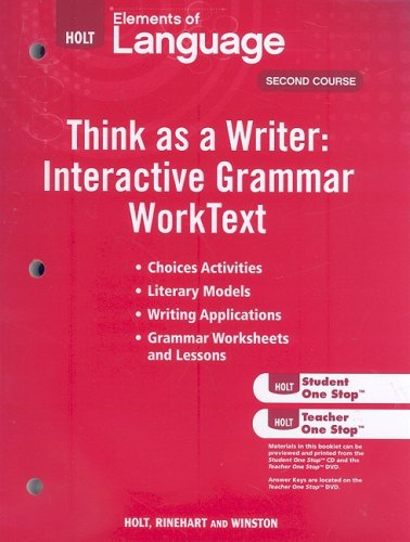 9780030995613: Elements of Language: Think As a Writer, Interactive Writing Worktext, 2nd Course, , Grade 8