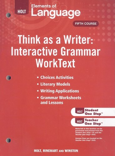 9780030995644: Elements of Language: Think As A Writer Interactive Writing Worktext