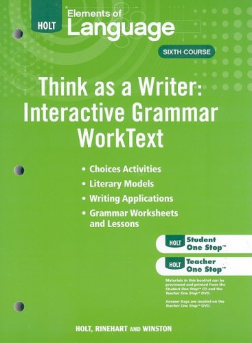 9780030995651: Elements of Language: Think As A Writer Interactive Writing Worktext Grade 12