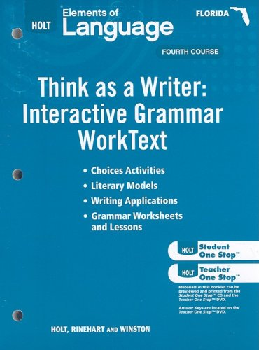 9780030995705: Holt Elements of Language Florida: Think As a Writer Work Test Grade 10
