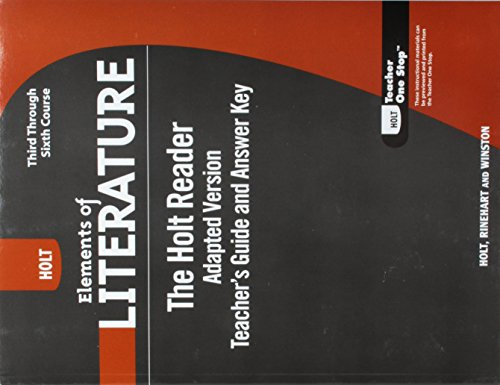 9780030996498: Holt Elements of Literature: The Holt Reader, Adapted Version Teacher's Guide and Answer Key Third through Sixth Courses