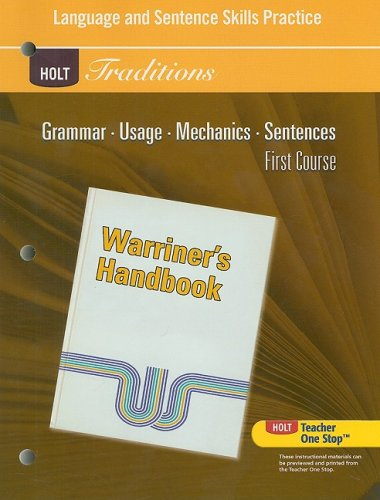 9780030997013: Holt Traditions Warriner's Handbook: Language and Sentence Skills Practice First Course Grade 7 First Course
