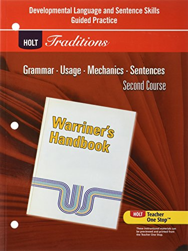 9780030997082: Holt Traditions Warriner's Handbook: Developmental Language and Sentence Skills Guided Practice Second Course Grade 8
