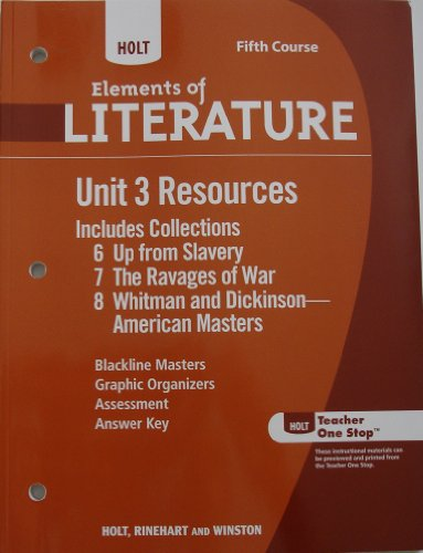 9780030997938: Holt Elements of Literature: Unit 3 Resources Grade 11