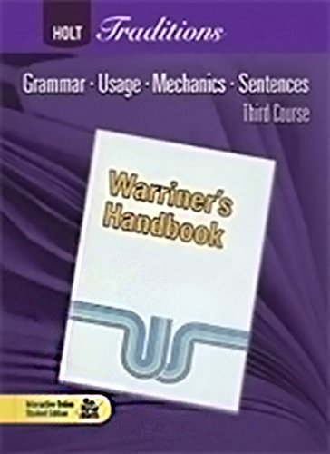 9780030998461: Chapter Tests with Answer Key for Warriner's Handbook, Third Course, Holt Traditions