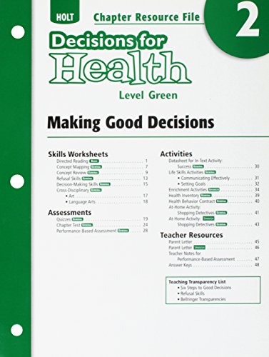 9780030999215: Making Good Decisions: Chapter Resource File, No. 2 (Holt Decisions for Health, Level Green)
