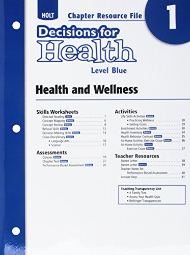 9780030999468: Decisions for Health: Chapter Resource File Level Blue Chapter 1: Health and Wellness