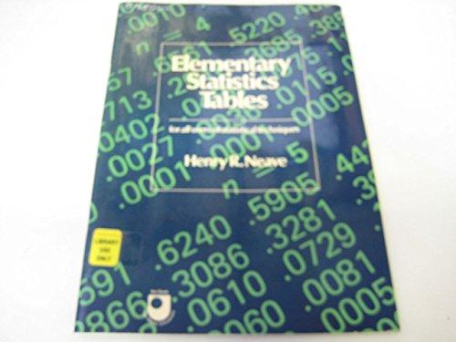 9780040010023: Elementary Statistics Tables