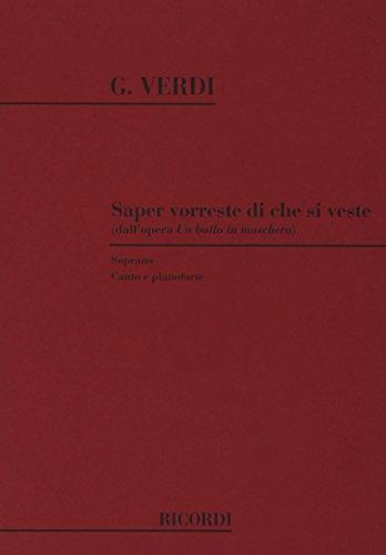 9780040543644: Partitions classique RICORDI VERDI G. - SAPER VORRESTE DI CHE SI VESTE - CHANT ET PIANO Voix solo, piano