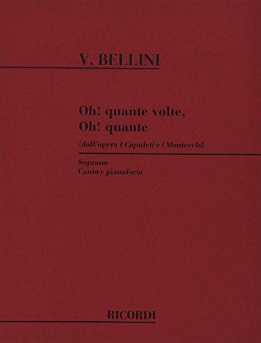 9780041098136: Partitions classique RICORDI BELLINI V. - OH! QUANTE VOLTE OH! QUANTE - CHANT ET PIANO Voix solo, piano