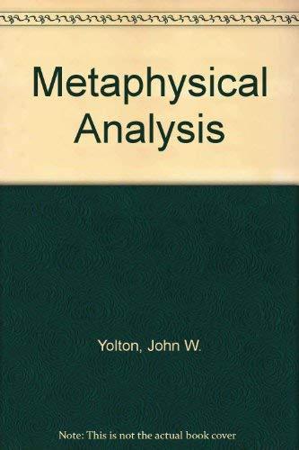 9780041100129: Metaphysical Analysis