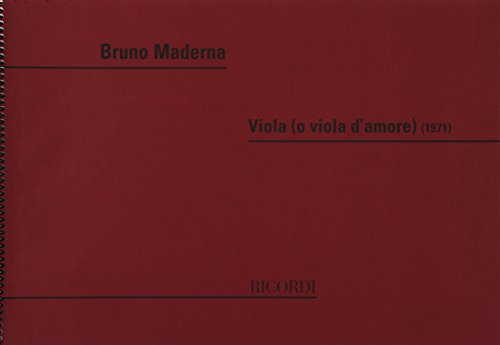 9780041318876: RICORDI MADERNA B. - VIOLA (O VIOLA D'AMORE) Classical sheets Viola
