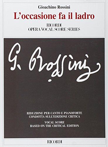 9780041345520: Partitions classique RICORDI ROSSINI G. - L'OCCASIONE FA IL LADRO OSSIA IL CAMBIO DELLA VALIGIA - CHANT ET PIANO Voix solo, piano