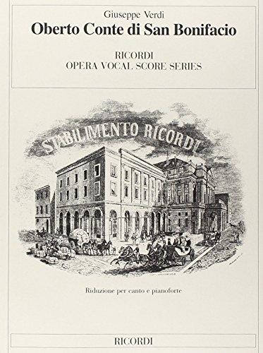 9780041374735: RICORDI VERDI G. - OBERTO CONTE DI SAN BONIFACIO - CHANT ET PIANO Classical sheets Voice solo, piano
