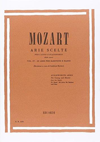 9780041822915: RICORDI MOZART W.A. - ARIE SCELTE VOL.4 22 ARIE - BARITONO E BASSO Classical sheets Voice solo, piano