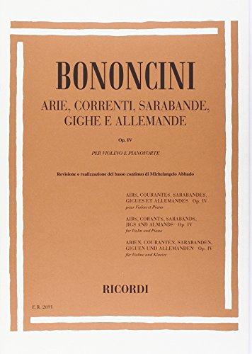 9780041826913: ARIE, CORRENTI, SARABANDE, GIGHE E ALLEMANDE OP. IV