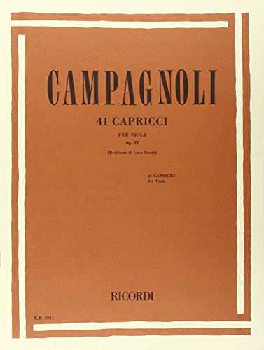 9780041829112: CAMPAGNOLI - Caprichos (41) Op.22 para Viola (Sanzo)