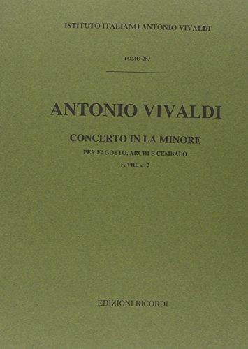 9780041902778: RICORDI VIVALDI A. - CONCERTO IN LA MIN. RV 498 - F.VIII/2 - BASSON Classical sheets Bassoon