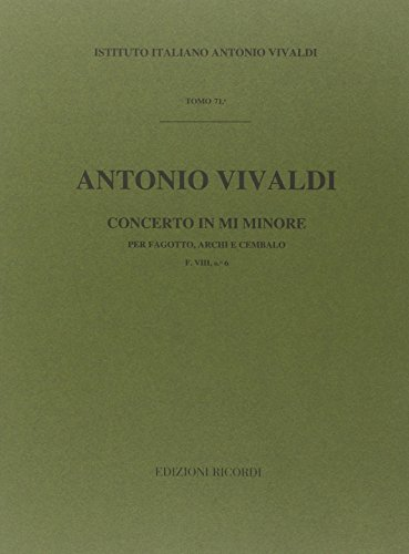 9780041903584: RICORDI VIVALDI A. - CONCERTO IN MI MIN. RV 484 - F.VIII/6 - BASSON Classical sheets Bassoon