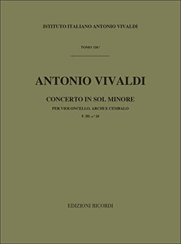 9780041912012: Partitions classique RICORDI VIVALDI A. - CONCERTO IN SOL MIN. RV 416 - F.III/26 - VIOLONCELLE, CORDE ET BASSE CONTINUE Violoncelle
