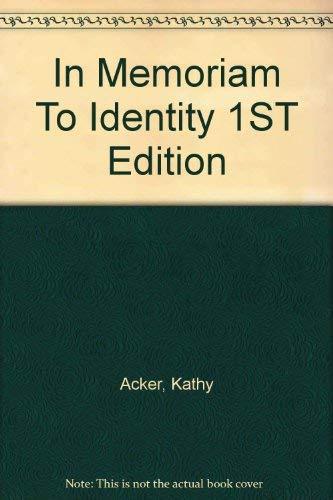 9780044405689: In Memoriam to Identity