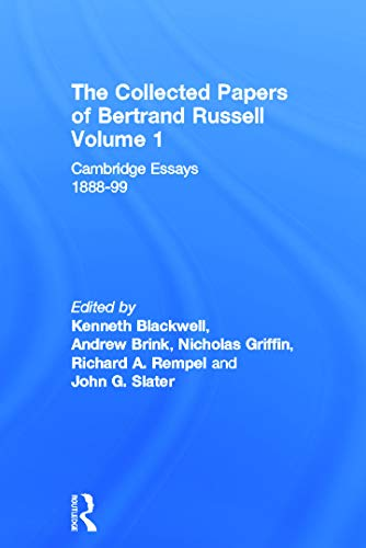 9780049200678: The Collected Papers of Bertrand Russell, Vol. 1: Cambridge Essays, 1888-99