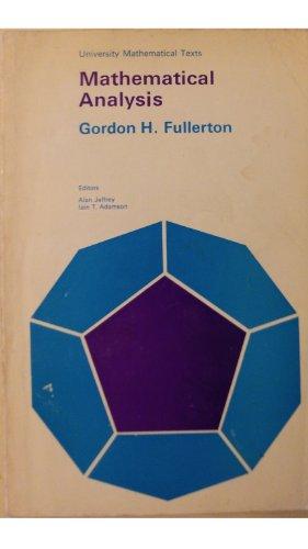 9780050023464: Mathematical Analysis (University Mathematical Texts)